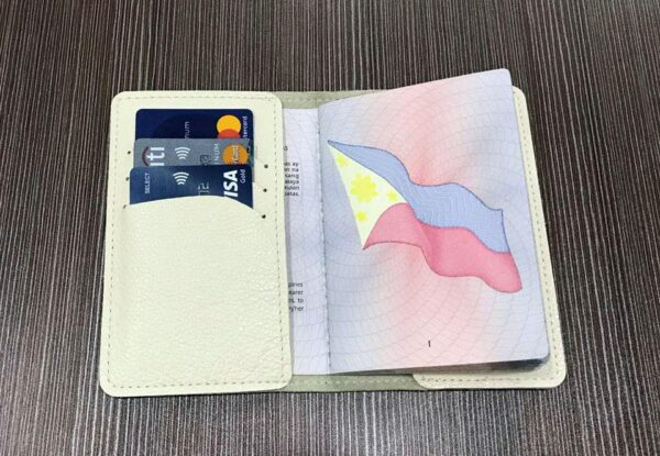 leather passport cover with card holder